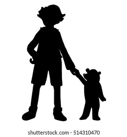 Black silhouettes of a boy and a little bear isolated on white background. Kid and animal. Illustration in style of Winnie the Pooh and Christopher Robin. Characters for prints, kids room, design.
