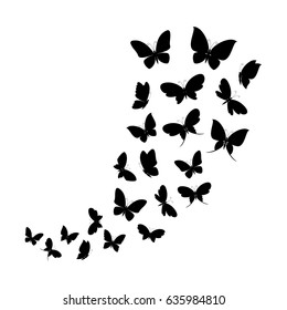 Black silhouettes of butterflies flying. Vector illustration