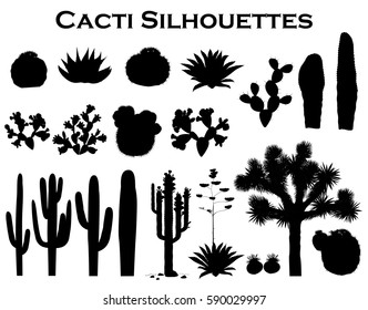 Black silhouettes of cacti, agave, joshua tree, and prickly pear. Vector collection