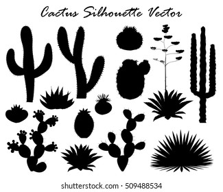 Black silhouettes of cactus, agave, and prickly pear. Vector illustration