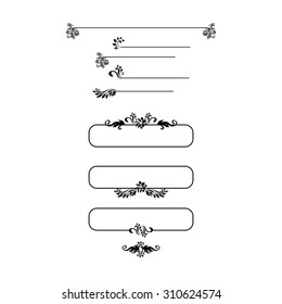Black silhouettes for calligraphic design. Vector frames isolated on white. For Menu Headers, invitations, page decor.