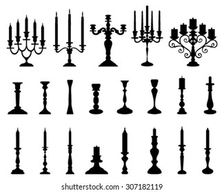 Black silhouettes of candlesticks, vector