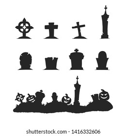 Black silhouettes of cemetery tombstones, crosses and gravestones. Graveyard border with headstone, creepy pumpkins for Halloween decoration.