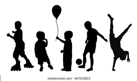 Black silhouettes of children playing on white background, vector illustration
