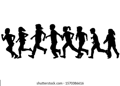 Black silhouettes of children running