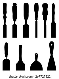 Black silhouettes of chisels, vector