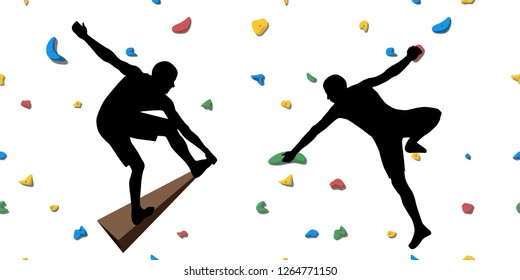 Black silhouettes of climbers who climb on a wall in a climbing gym isolated on a white background. Vector illustration.