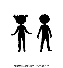 Black silhouettes of cute kids. Standing boy and girl, front view. Body template for your design needs.