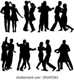 Black silhouettes Dancing on white background. Vector illustration.