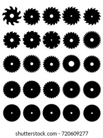 Black silhouettes of different circular saw blades, vector