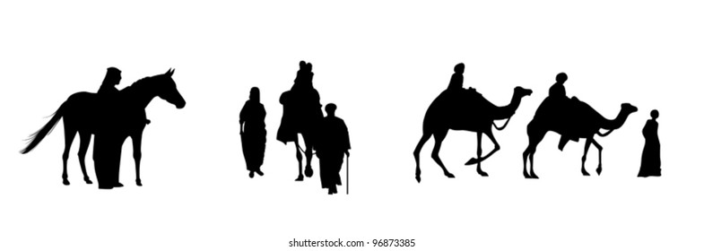 black silhouettes of egyptian people whit camels and horse on the white background