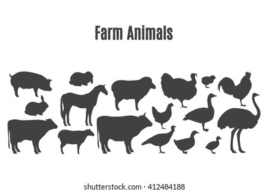 Black silhouettes of farm animals. Butchery Design Elements. Isolated on a white background.