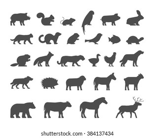 Black silhouettes farm and wild animals on white background. Vector figure pets. Icon cow, bear, beaver, sheep, chicken and deer.