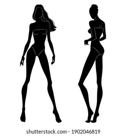 The black silhouettes of fashion models posing. Beautiful slim women isolated on a white background, vector illustration.