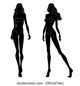 The black silhouettes of fashion models walking on the podium. Beautiful slim women isolated on a white background, vector illustration.
