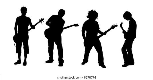 black silhouettes of four young guitar players