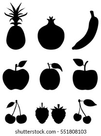 Black silhouettes of fruit,vector icon set for web and mobile