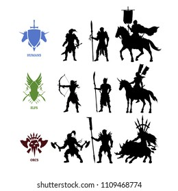 Black silhouettes games characters. Elfs, orcs and humans warrior. Fantasy knights. Icon of medieval units. Isolated drawing of fantastical warlords. Vector illustration