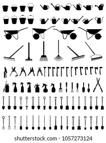 Black silhouettes of garden tools on a white background