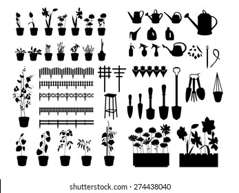 Black silhouettes of gardening tools, plants,herbs, flowers isolated on white
