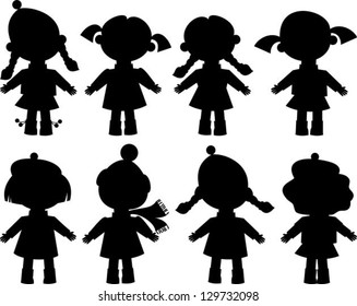 black silhouettes of girls