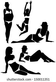 Black silhouettes of girls in bikini