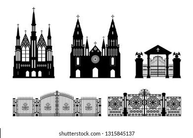 Black silhouettes of gothic church, crypt and gate. Isolated drawing of cathedral build. Fantasy architecture. European medieval landmark. Design element. Vector illustration
