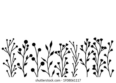 Black silhouettes of grass, flowers and herbs. minimalistic simple floral elements. Botanical natural. Graphic sketch. Hand drawn flowers. design for social media. Outline, line, doodle style.