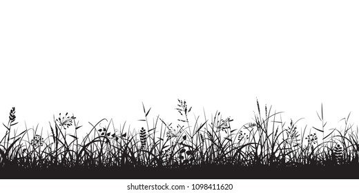 Black silhouettes of grass, spikes and herbs isolated on white background. Seamless border. Hand drawn sketch style vector illustration.