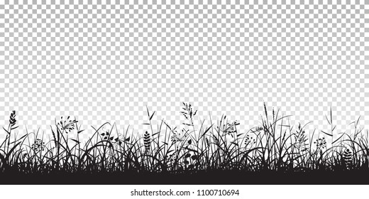 Black silhouettes of grass, spikes and herbs isolated on transparent background. Seamless border. Hand drawn sketch style vector illustration.