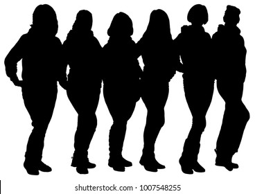 Black silhouettes of group of women on a white background. Structure of jury, judge, competition. Team.