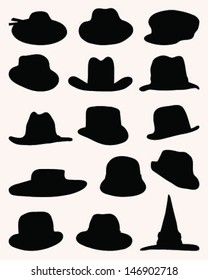 Black silhouettes of hats, vector