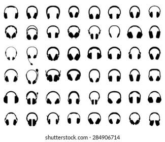 Black silhouettes of headphones, vector