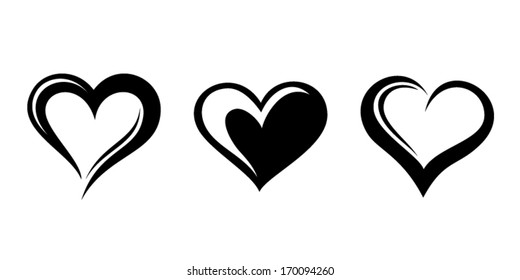 Black silhouettes of hearts. Vector illustration.