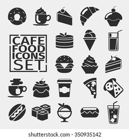 Black silhouettes of icons food. cafe menu, desserts. Vector illustration