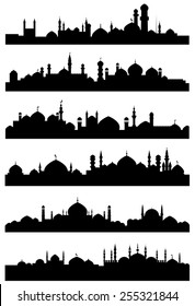 Black silhouettes of islamic cityscape shoving mosques, minarets with crescents on the tops of dome roofs and castles with high towers for traveling or architecture design