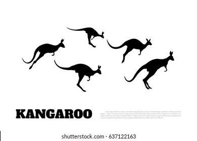 Black silhouettes of jumping kangaroos on a white background. Isolated drawing of a wallaby. Vector illustration