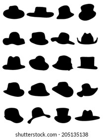 Black silhouettes of male and female hat, vector