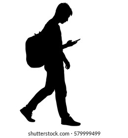 Black silhouettes man with backpack on a back. Vector illustration