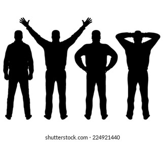 Black silhouettes of man in different poses, vector