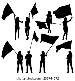 Black silhouettes of  mans and womans with flags on white background. Vector illustration.