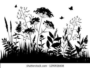 Black silhouettes of meadow wild herbs. Wildflowers. Floral background. Wild grass. Vector illustration.