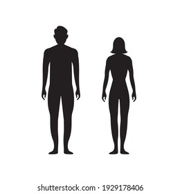 Black silhouettes of men and women on a white background. Male and female gender. Figure of human body. Vector