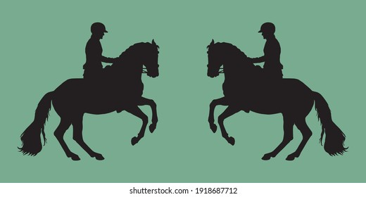 black silhouettes on a green background, dressage, two riders facing each other. black isolated silhouette