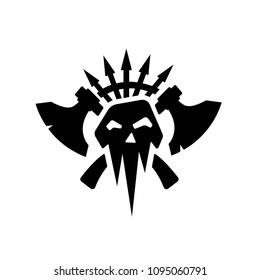 Black silhouettes of orcs clan symbol on white background. Warrior sign. Fantasy game banner with axe and skull. Vector illustration
