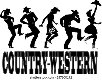Black silhouettes of people dressed in western style close, dancing country line dance, vector illustration, no white, EPS 8