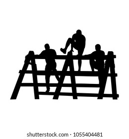 Black silhouettes of a people overcoming the obstacle. Obstacle race symbol. Vector illustration.