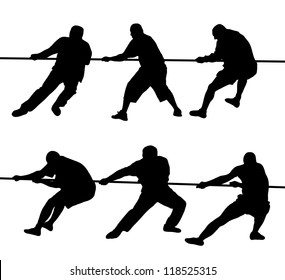 Black silhouettes of people pulling rope