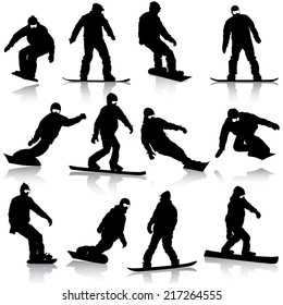 Black silhouettes set snowboarders on white background. Vector illustration.