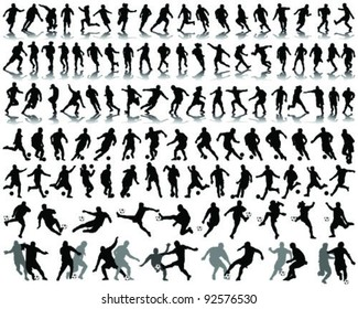 Black silhouettes and shadow of football players -vector